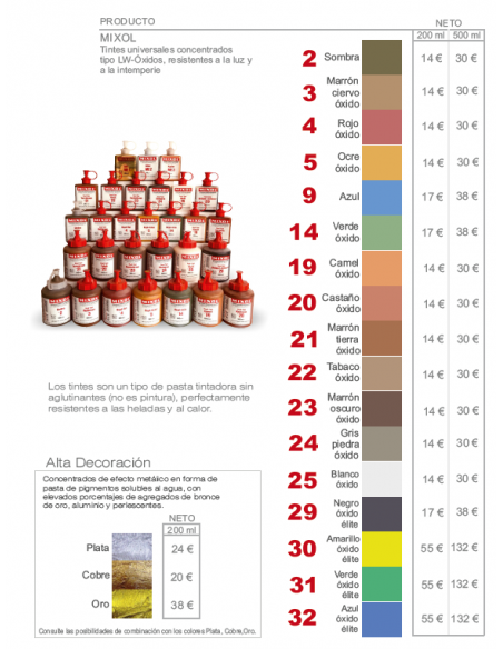 Mixol dyes mineral pigments colors