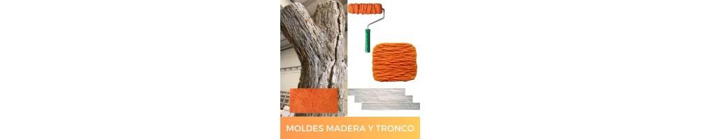 Moldes para hacer texturas de madera, corteza y tronco con mortero