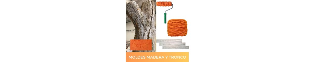 Molds for making wood, bark and trunk textures with mortar